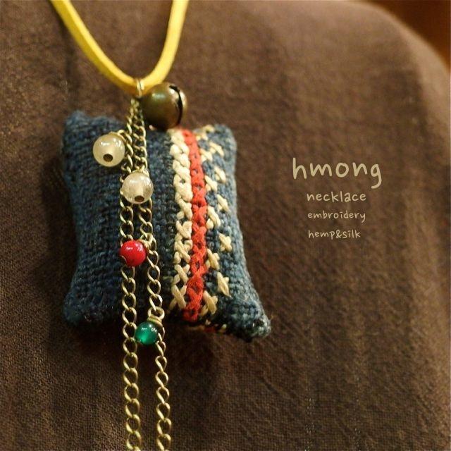 画像1: モン族刺繍ネックレス